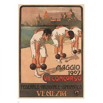 7th Federal Gym Competition Poster Giuseppe Carpanetto Italy 1907 24X36 Gem