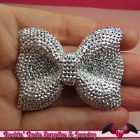 2 pcs FAUX RHINESTONE Silver BOWS Large Flatback Resin Decoden Kawaii Cabochons 52x40mm