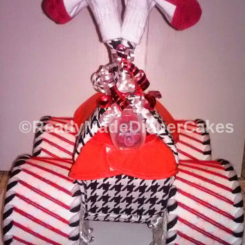 Alabama Crimson Tide College Football Themed Baby Shower Red White Black Four Wheeler Diaper Cake Table Centerpiece Baby Sprinkle Gift