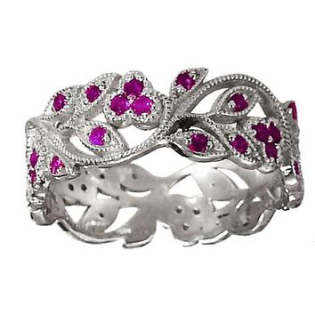 18K White gold Amethyst eaves Band Purple Filigree Ring Milgrain Twig Ring