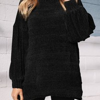 Black High Neck Long Sleeve Oversize Casual Pullover Sweater