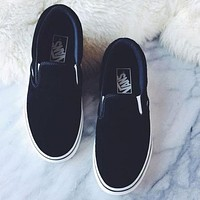 Black VANS Slip-On Old Skool Flats Shoes Sneakers Sport Shoes