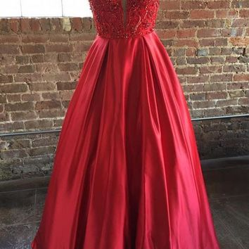 Off Shoulder Short Sleeve Plunging Neckline Red Prom Dress