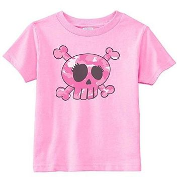 Lil Shirts Little Girls Pink Camo Girly Crossbones Toddler Graphic Tee