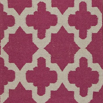 Jaipur Rugs FlatWeave Geometric Pattern Pink/Ivory Wool Area Rug MR58 (Runner)