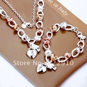 Wholesale 925 silver bracelet, 925 sterling silver jewelry, fashion jewelry Heart Lock and Flower Key Two-piece Set S010