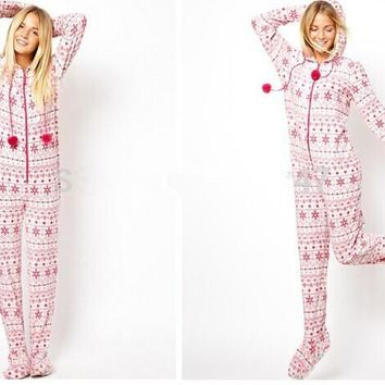 [wiki's store]Adult woman Euro Size Hooded & Footed Pajamas Cotton Fleece Onesuits S-L