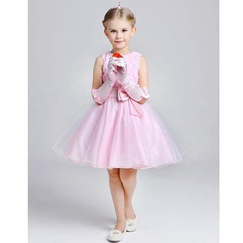 2017 summer new arrival purple flower girl dress cute princess elegant small girl formal gown for wedding party in stock cheap