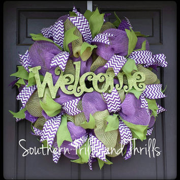 Welcome Deco Mesh Wreath, Deco Mesh Wreath, Wreath, Door Hanger,  Door Wreath, Purple and Lime Wreath, Jute Wreath, Deco Mesh