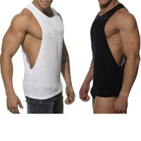 Men Sexy Summer Tanks Mens Thank Tops Sports Fitness Vest Super Longline Sleeveless T-Shirt [8833479052]