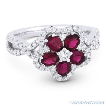 1.57ct Oval Cut Ruby Diamond Pave 18k White Gold Right-Hand Flower Cocktail Ring