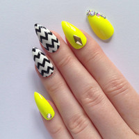 Yellow Stiletto Nails, Nail designs, Nail art, Nails, Stiletto nails, Acrylic nails, Pointy nails, Fake nails