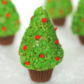 Rice Krispie Treat Christmas Trees (12) Edible Favor, Snack, Edible Gift, Holiday,