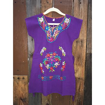 Mexican Kimono Dress for Girls Purple