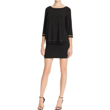 Laundry by Shelli Segal Womens Popover Beaded Cocktail Dress