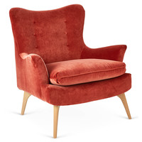 Sonja Velvet Chair, Burnt OrangeKIM SALMELA