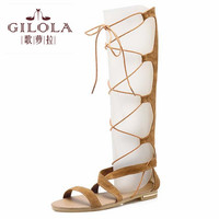 new knee high hollow flat women's sandals women sandals spring summer shoes woman lace up gladiator ladies #Y0582973F