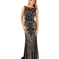 Preorder -  Black & Nude Beaded Lace Sleeveless Fitted Long Dress 2015 Prom Dresses