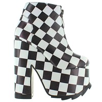 YRU Nightmare - Black & White Checker Mega Platform/Heel Bootie