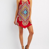 Paisley Handkerchief Hem Shift Dress