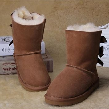LFMON UGG 3280 Children's Shoes Kids 1002954 Cute Bowknot Women Men Fashion Casual Wool Winter Snow Boots Chestnut