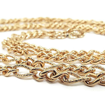 Extra Long Vintage Chain Necklace Napier 1 20th 12K GF Gold Filled Mid Century Flapper Style Mod Jewelry