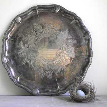 Large Silver Tray / Vintage Viking Plate Serving Tray / Tarnished Silver Plate Tray /  Cottage Chic