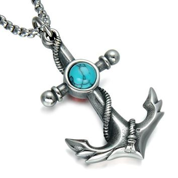 Vintage Anchor Turquoise Necklaces  For Men  Silver Plated
