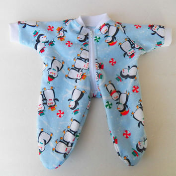 "bitty baby clothes Handmade Twin Girl Boy 15""  Christmas Winter Pjs Pajamas Sleeper Blue Penguin Trio Black White Red"