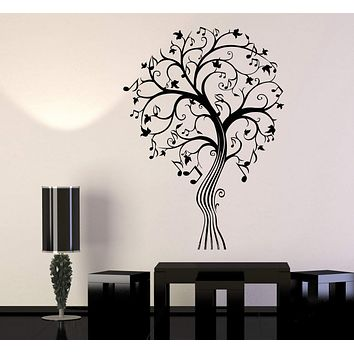 Vinyl Wall Decal Musical Beautiful Art Tree Notes Branches Stickers Unique Gift (1435ig)