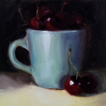 Small Original Oil Painting, 6 x 6 Blue Cup and Cherries