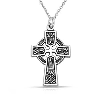 Celtic Trinity Cross Knot Pendant Sterling Silver Necklace Chain 1 35