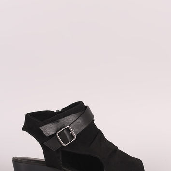 Bamboo Suede Crisscross Buckled Strap Cutout Wedge Sandal