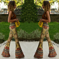 SA Womens Floral Print Bell Bottom Wide Leg Flare Stretch High Waist Boho Pants