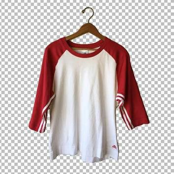 XL 90s Adidas Top Red and White Three Stripe Baseball Tee // Striped Sleeves Adidas Lo
