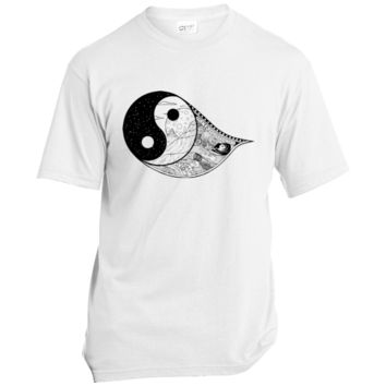 Gothic Yin-Yang, Sky, Mountains And Parchment Unisex T-Shirt