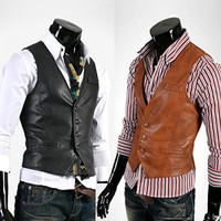 New Style Slim Leather Vest