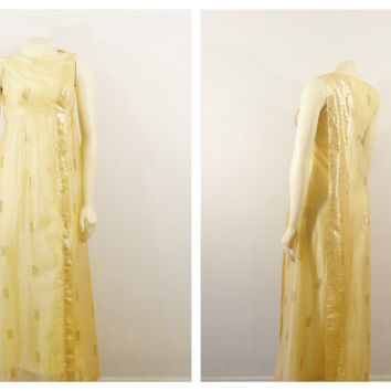 Vintage Dress 50s 60s Oriental Asian Inspired Gold Embroidered Organza Watteau Shoulder Train Modern XS