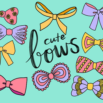 CUTE BOW CLIPART, clip art, cute, doodles, vector clipart, clipart, doodle clipart, hand-drawn clipart, bow clipart, stickers, wedding, baby