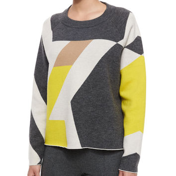 Hilary Geometric Pullover Sweater, Size: