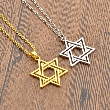 Vintage Pentagram Necklace Pendant Religious Supernatural Necklace Jewish Shield Star of David Jewelry Statement Satan Charm