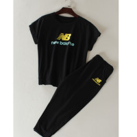 """New balance"" Fashion running sports shorts sleeve show thin T shirt suit Black"