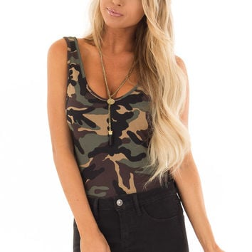 Camo Sleeveless Body Suit with Round Neckline