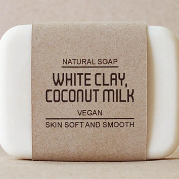 White clay soap mixed Coconut milk, Vegan soap, Pine essential oil scent, Facial soap, Gentle cleansing and Nourish your skin by naturally