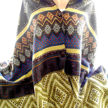 multicolor aztec blanket cape, poncho, blanket shawl, scarves for women, soft scarf, cozy scarf, trendy scarf