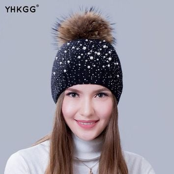 DCCKJG2 2016 with pearl drills very fashionable lady warm winter wool cap wool knitted cap cap with the bulb Raccoon Fur Pom Pom Hat