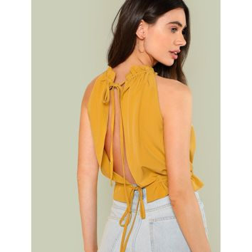 Knot Slit Back Frill Trim Shell Top