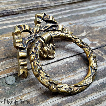 Large Ribbon & Bow Wreath Ring Pull Victorian Furniture Pulls Romantic KBC Dresser Pulls Dark Brass Drawer Pulls Dresser Hardware O-Ring