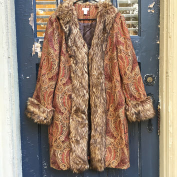 Paisley Long Line Fur Coat