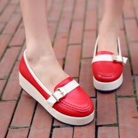 Buckle Women Wedges High Heels Platform Shoes 2356